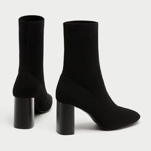 ZARA rounded toe black sock ankle boots heels